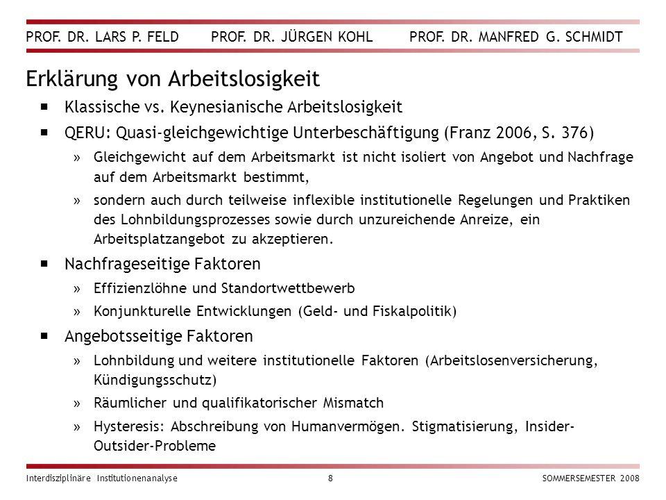 PROF. DR. LARS P. FELD PROF. DR. JÜRGEN KOHL PROF. DR. MANFRED G. SCHMIDT Interdisziplinäre Institutionenanalyse8SOMMERSEMESTER 2008 Erklärung von Arb
