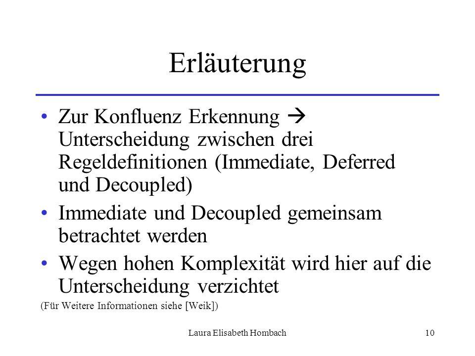 Laura Elisabeth Hombach10 Erläuterung Zur Konfluenz Erkennung  Unterscheidung zwischen drei Regeldefinitionen (Immediate, Deferred und Decoupled) Imm
