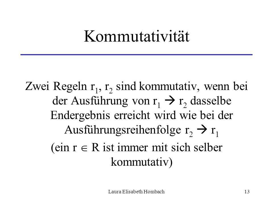 Laura Elisabeth Hombach13 Kommutativität Zwei Regeln r 1, r 2 sind kommutativ, wenn bei der Ausführung von r 1  r 2 dasselbe Endergebnis erreicht wir