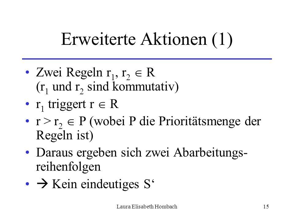 Laura Elisabeth Hombach15 Erweiterte Aktionen (1) Zwei Regeln r 1, r 2  R (r 1 und r 2 sind kommutativ) r 1 triggert r  R r > r 2  P (wobei P die P
