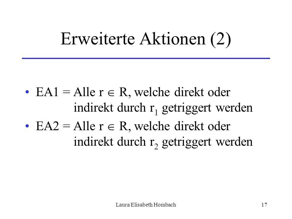 Laura Elisabeth Hombach17 Erweiterte Aktionen (2) EA1 = Alle r  R, welche direkt oder indirekt durch r 1 getriggert werden EA2 = Alle r  R, welche d