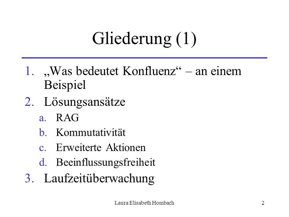 """Laura Elisabeth Hombach2 Gliederung (1) 1.""""Was bedeutet Konfluenz"""" – an einem Beispiel 2.Lösungsansätze a.RAG b.Kommutativität c.Erweiterte Aktionen d"""