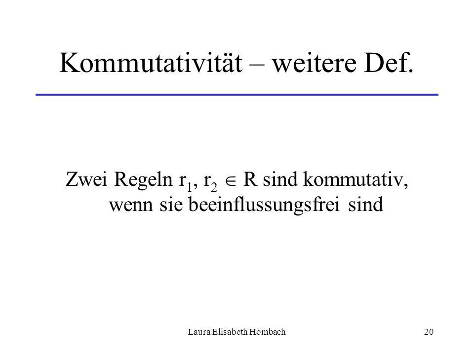 Laura Elisabeth Hombach20 Kommutativität – weitere Def. Zwei Regeln r 1, r 2  R sind kommutativ, wenn sie beeinflussungsfrei sind