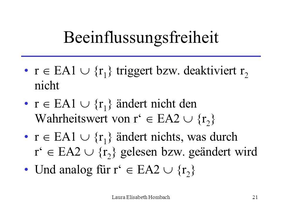 Laura Elisabeth Hombach21 Beeinflussungsfreiheit r  EA1  {r 1 } triggert bzw. deaktiviert r 2 nicht r  EA1  {r 1 } ändert nicht den Wahrheitswert