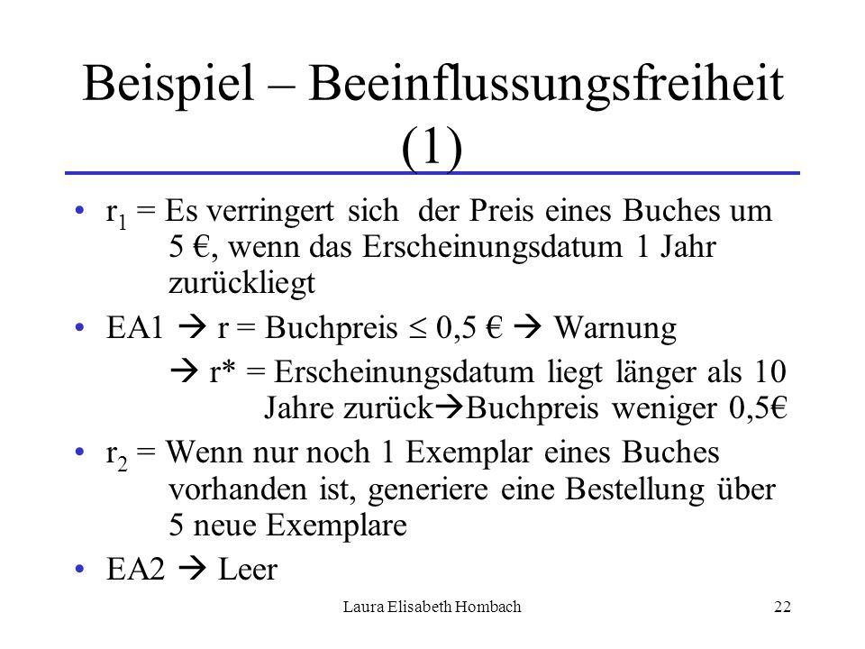Laura Elisabeth Hombach22 Beispiel – Beeinflussungsfreiheit (1) r 1 = Es verringert sich der Preis eines Buches um 5 €, wenn das Erscheinungsdatum 1 J