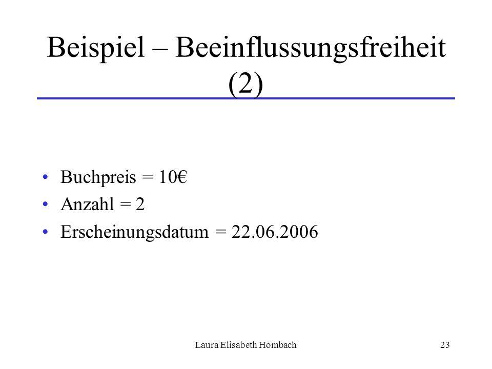 Laura Elisabeth Hombach23 Beispiel – Beeinflussungsfreiheit (2) Buchpreis = 10€ Anzahl = 2 Erscheinungsdatum = 22.06.2006