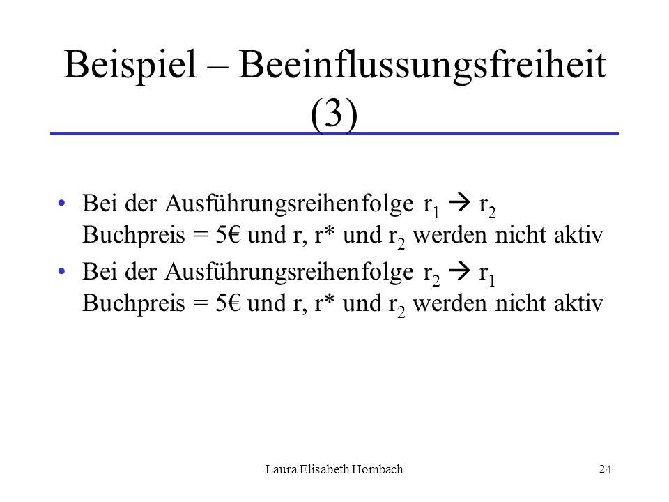 Laura Elisabeth Hombach24 Beispiel – Beeinflussungsfreiheit (3) Bei der Ausführungsreihenfolge r 1  r 2 Buchpreis = 5€ und r, r* und r 2 werden nicht