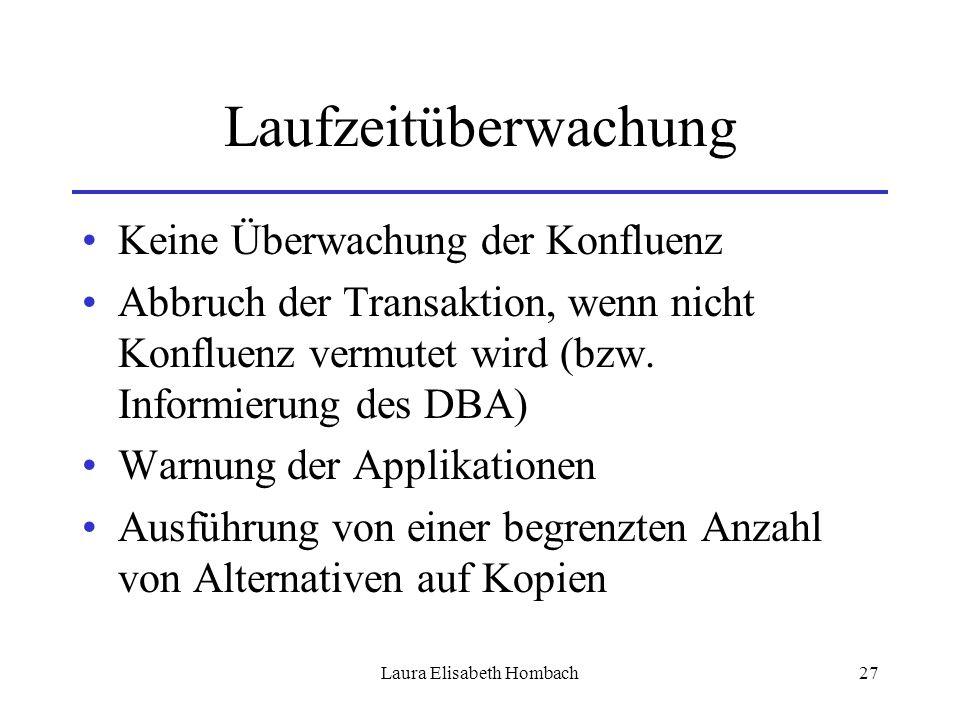 Laura Elisabeth Hombach27 Laufzeitüberwachung Keine Überwachung der Konfluenz Abbruch der Transaktion, wenn nicht Konfluenz vermutet wird (bzw. Inform