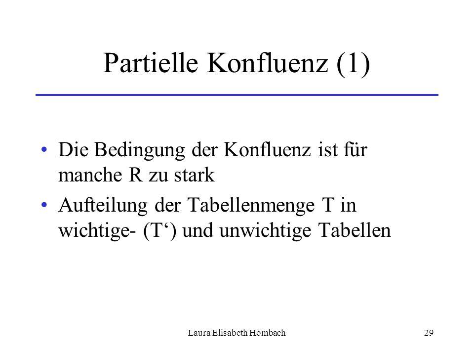 Laura Elisabeth Hombach29 Partielle Konfluenz (1) Die Bedingung der Konfluenz ist für manche R zu stark Aufteilung der Tabellenmenge T in wichtige- (T