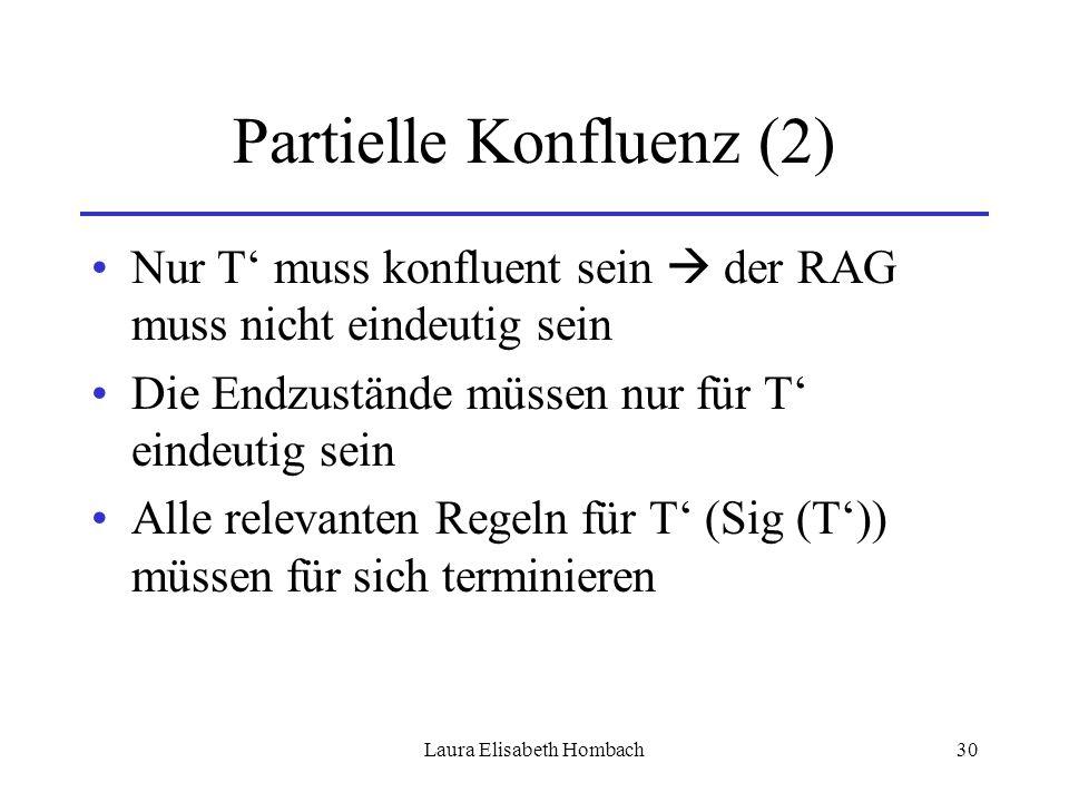 Laura Elisabeth Hombach30 Partielle Konfluenz (2) Nur T' muss konfluent sein  der RAG muss nicht eindeutig sein Die Endzustände müssen nur für T' ein