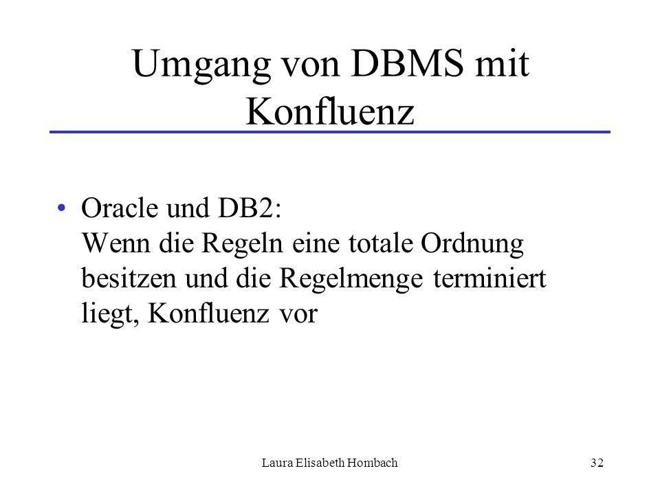 Laura Elisabeth Hombach32 Umgang von DBMS mit Konfluenz Oracle und DB2: Wenn die Regeln eine totale Ordnung besitzen und die Regelmenge terminiert lie