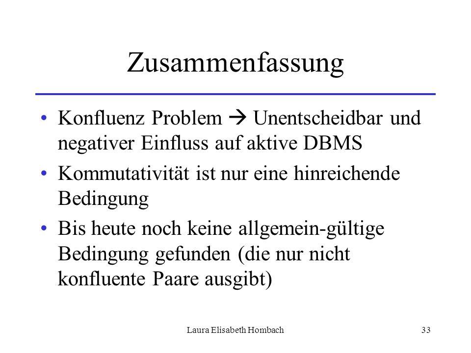 Laura Elisabeth Hombach33 Zusammenfassung Konfluenz Problem  Unentscheidbar und negativer Einfluss auf aktive DBMS Kommutativität ist nur eine hinrei