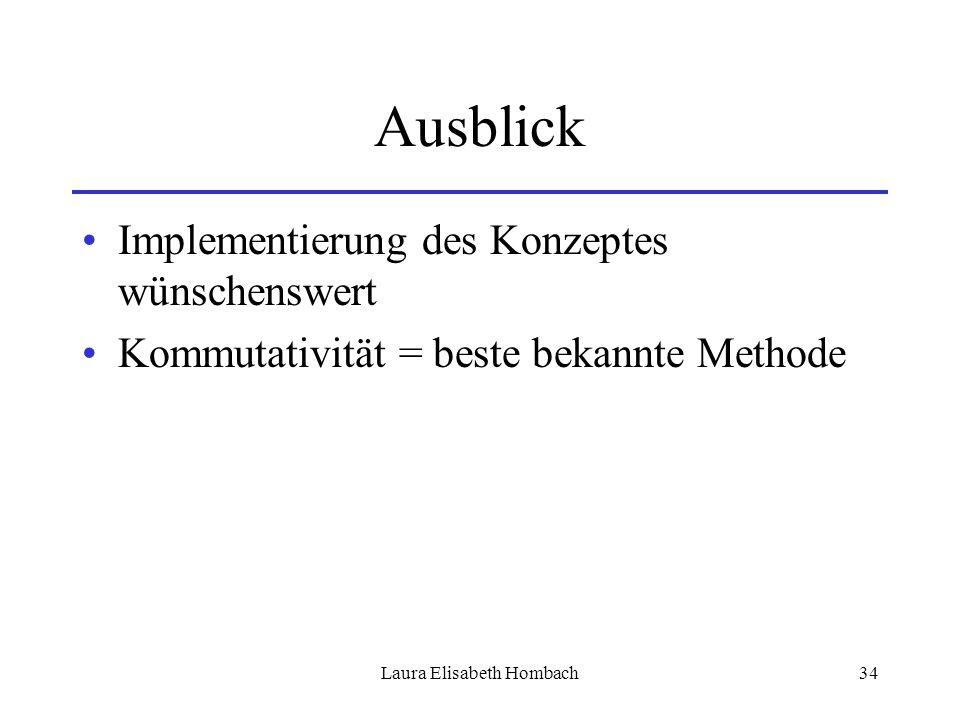 Laura Elisabeth Hombach34 Ausblick Implementierung des Konzeptes wünschenswert Kommutativität = beste bekannte Methode