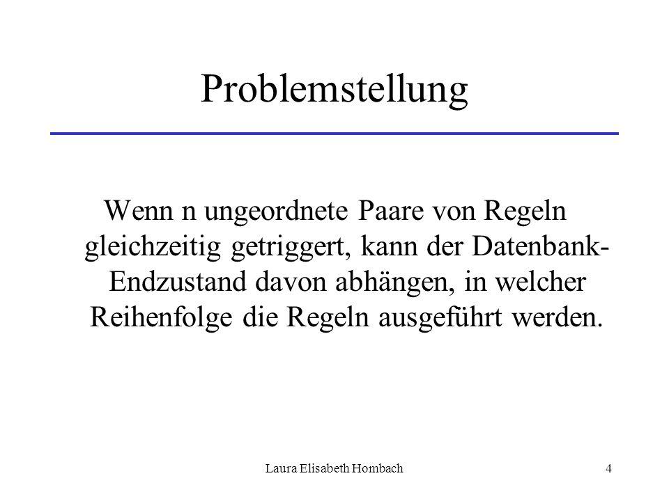 Laura Elisabeth Hombach4 Problemstellung Wenn n ungeordnete Paare von Regeln gleichzeitig getriggert, kann der Datenbank- Endzustand davon abhängen, i