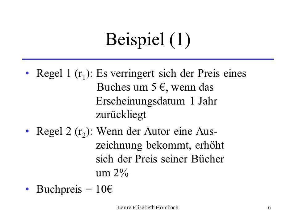Laura Elisabeth Hombach6 Beispiel (1) Regel 1 (r 1 ): Es verringert sich der Preis eines Buches um 5 €, wenn das Erscheinungsdatum 1 Jahr zurückliegt