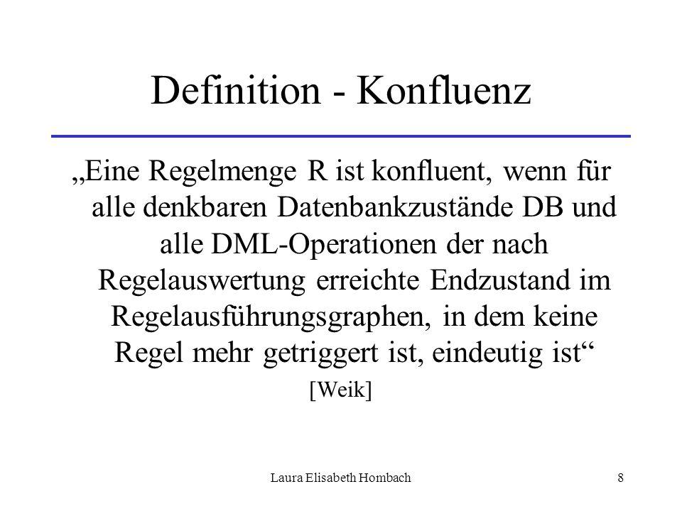 """Laura Elisabeth Hombach8 Definition - Konfluenz """"Eine Regelmenge R ist konfluent, wenn für alle denkbaren Datenbankzustände DB und alle DML-Operatione"""