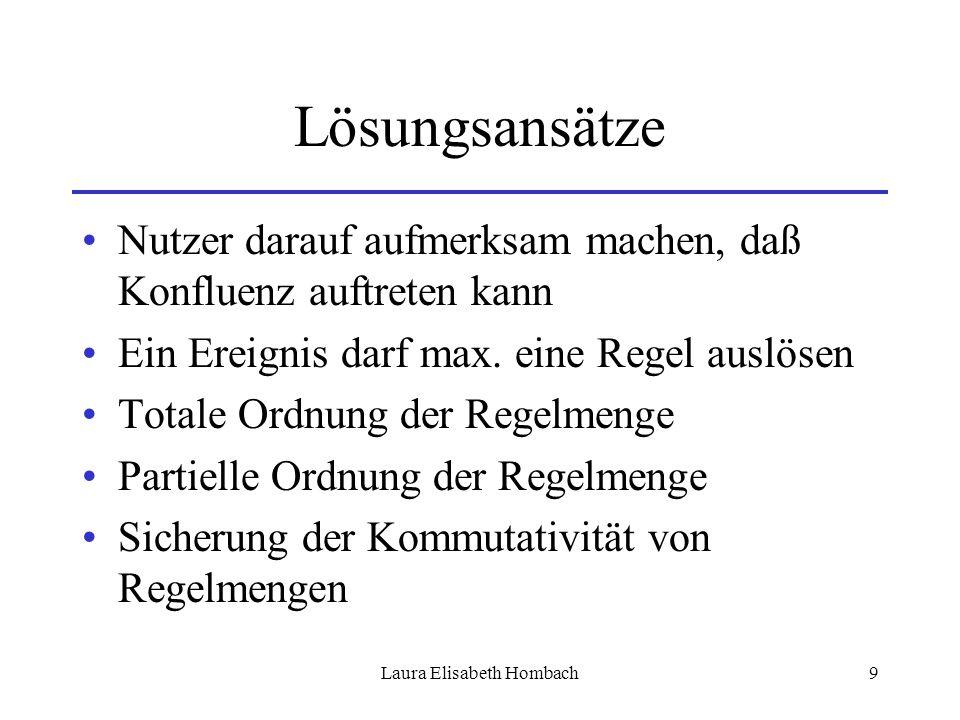 Laura Elisabeth Hombach9 Lösungsansätze Nutzer darauf aufmerksam machen, daß Konfluenz auftreten kann Ein Ereignis darf max. eine Regel auslösen Total