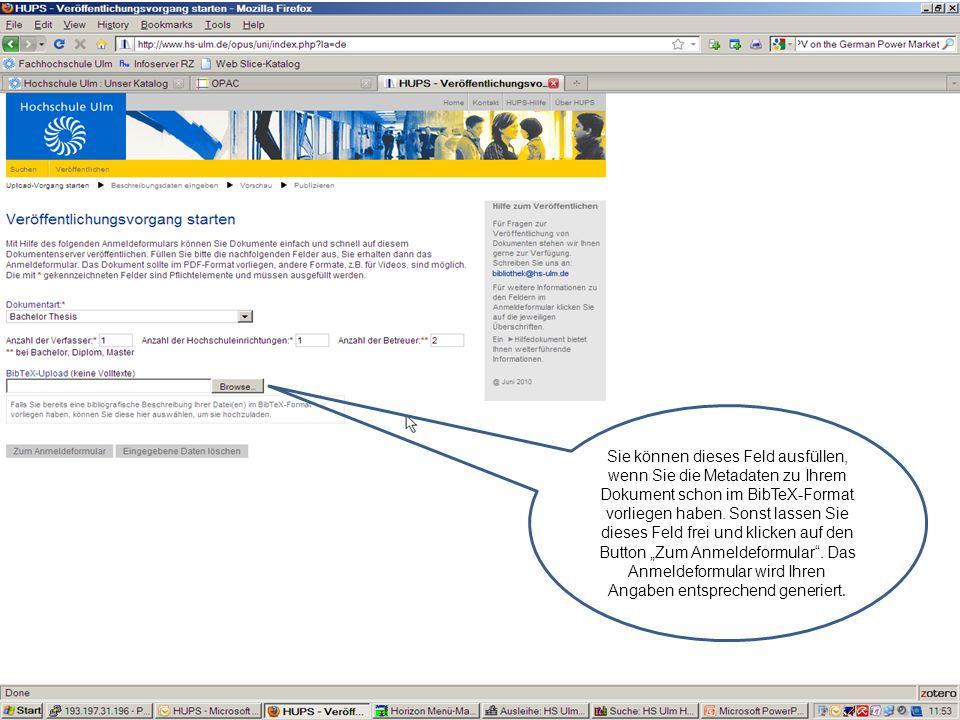 Sie können dieses Feld ausfüllen, wenn Sie die Metadaten zu Ihrem Dokument schon im BibTeX-Format vorliegen haben.