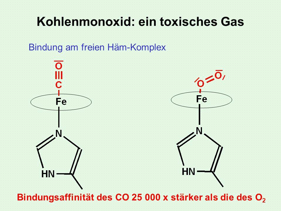 Kohlenmonoxid: ein toxisches Gas Bindung am freien Häm-Komplex Bindungsaffinität des CO 25 000 x stärker als die des O 2