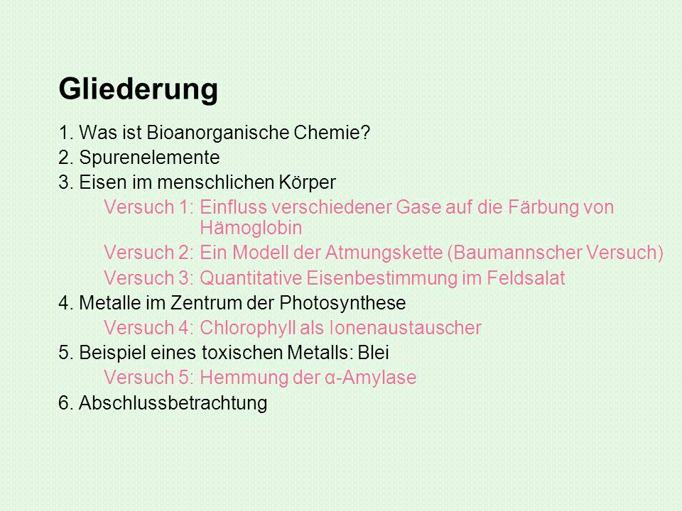 Gliederung 1. Was ist Bioanorganische Chemie? 2. Spurenelemente 3. Eisen im menschlichen Körper Versuch 1: Einfluss verschiedener Gase auf die Färbung