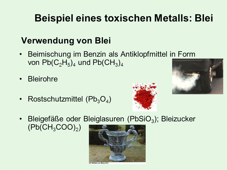Verwendung von Blei Beimischung im Benzin als Antiklopfmittel in Form von Pb(C 2 H 5 ) 4 und Pb(CH 3 ) 4 Bleirohre Rostschutzmittel (Pb 3 O 4 ) Bleige