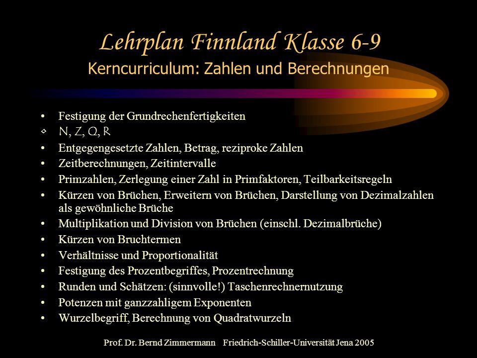 Prof. Dr. Bernd Zimmermann Friedrich-Schiller-Universität Jena 2005 Lehrplan Finnland Klasse 6-9 Kerncurriculum: Zahlen und Berechnungen Festigung der