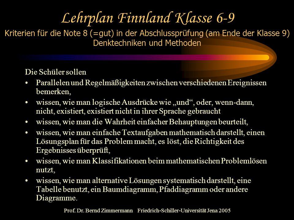 Prof. Dr. Bernd Zimmermann Friedrich-Schiller-Universität Jena 2005 Lehrplan Finnland Klasse 6-9 Kriterien für die Note 8 (=gut) in der Abschlussprüfu