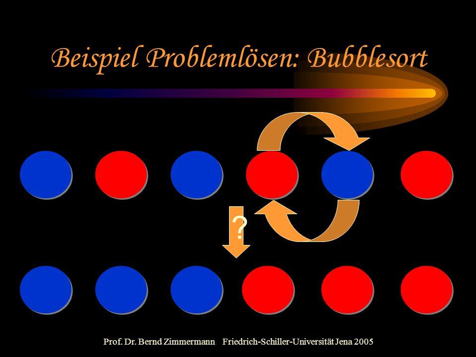 Prof. Dr. Bernd Zimmermann Friedrich-Schiller-Universität Jena 2005 Beispiel Problemlösen: Bubblesort ?
