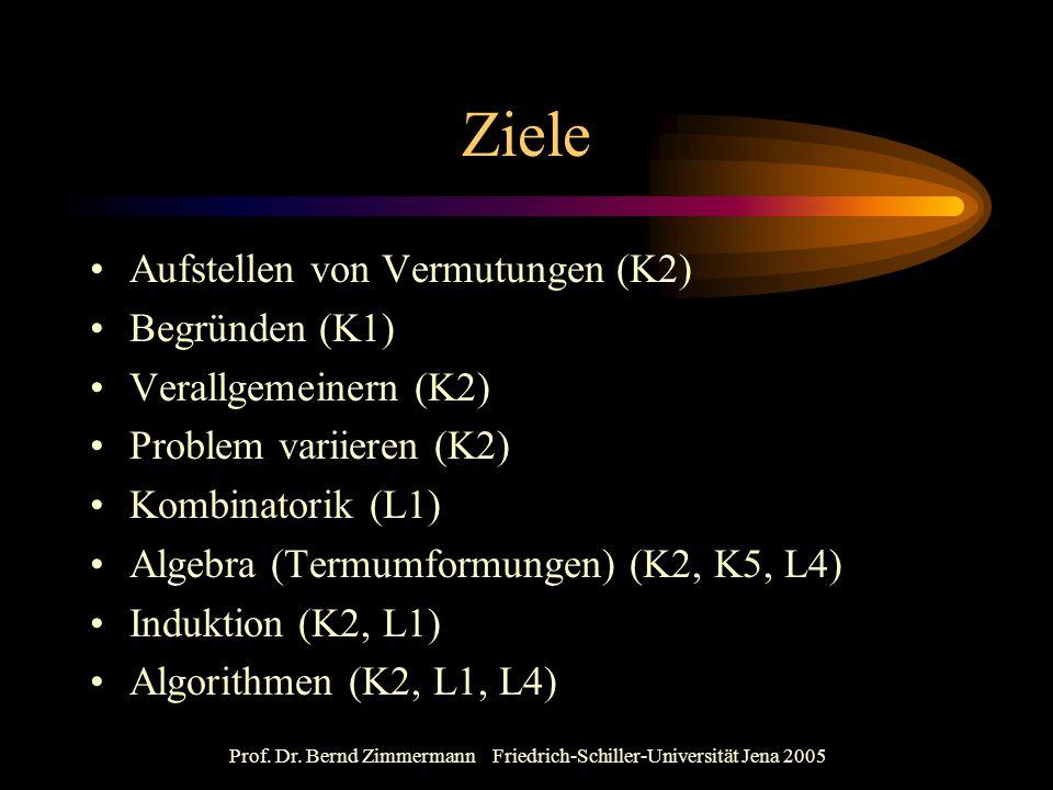 Prof. Dr. Bernd Zimmermann Friedrich-Schiller-Universität Jena 2005 Ziele Aufstellen von Vermutungen (K2) Begründen (K1) Verallgemeinern (K2) Problem