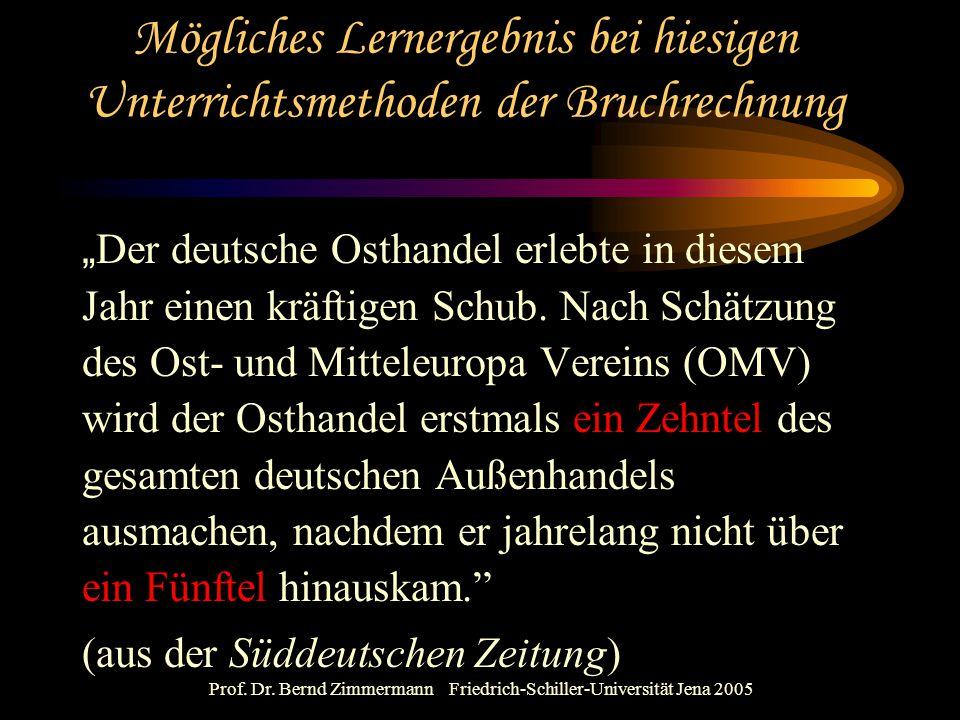 """Prof. Dr. Bernd Zimmermann Friedrich-Schiller-Universität Jena 2005 Mögliches Lernergebnis bei hiesigen Unterrichtsmethoden der Bruchrechnung """" Der de"""