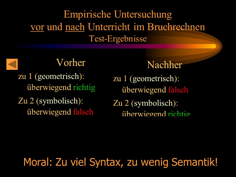 Prof. Dr. Bernd Zimmermann Friedrich-Schiller-Universität Jena 2005 Empirische Untersuchung vor und nach Unterricht im Bruchrechnen Test-Ergebnisse Vo