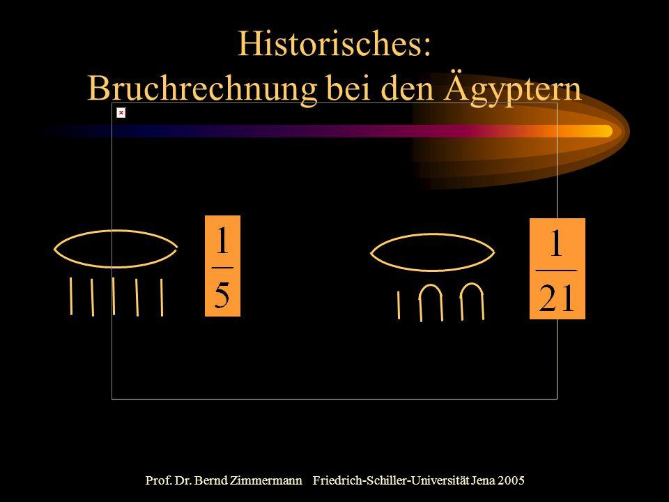Prof. Dr. Bernd Zimmermann Friedrich-Schiller-Universität Jena 2005 Historisches: Bruchrechnung bei den Ägyptern