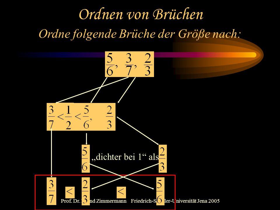 """Prof. Dr. Bernd Zimmermann Friedrich-Schiller-Universität Jena 2005 Ordnen von Brüchen """"dichter bei 1"""" als Ordne folgende Brüche der Größe nach:"""