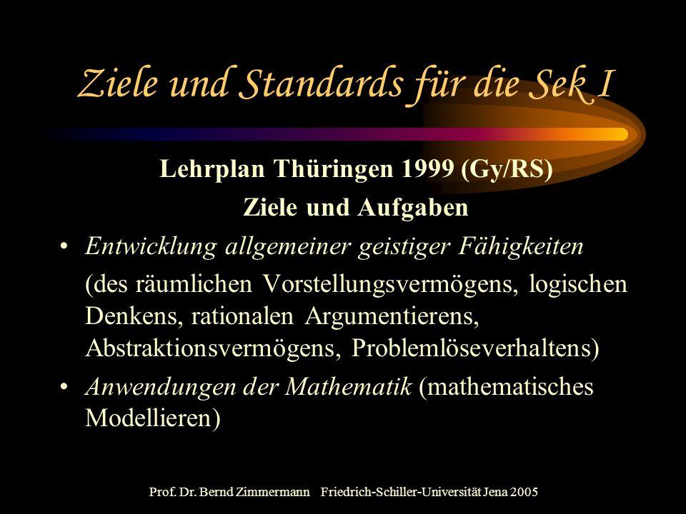 Prof. Dr. Bernd Zimmermann Friedrich-Schiller-Universität Jena 2005 Ziele und Standards für die Sek I Lehrplan Thüringen 1999 (Gy/RS) Ziele und Aufgab