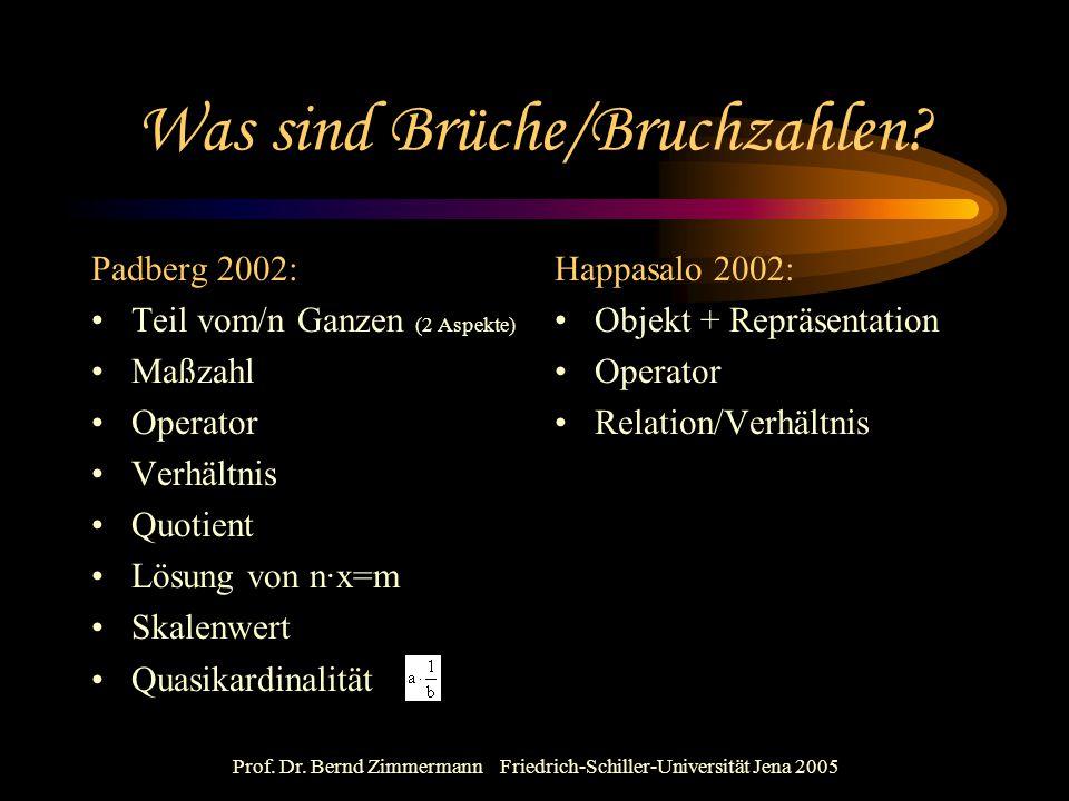 Prof. Dr. Bernd Zimmermann Friedrich-Schiller-Universität Jena 2005 Was sind Brüche/Bruchzahlen? Padberg 2002: Teil vom/n Ganzen (2 Aspekte) Maßzahl O