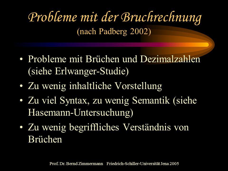 Prof. Dr. Bernd Zimmermann Friedrich-Schiller-Universität Jena 2005 Probleme mit der Bruchrechnung (nach Padberg 2002) Probleme mit Brüchen und Dezima