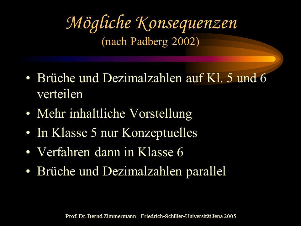 Prof. Dr. Bernd Zimmermann Friedrich-Schiller-Universität Jena 2005 Mögliche Konsequenzen (nach Padberg 2002) Brüche und Dezimalzahlen auf Kl. 5 und 6