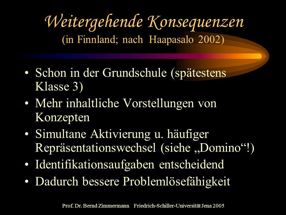 Prof. Dr. Bernd Zimmermann Friedrich-Schiller-Universität Jena 2005 Weitergehende Konsequenzen (in Finnland; nach Haapasalo 2002) Schon in der Grundsc