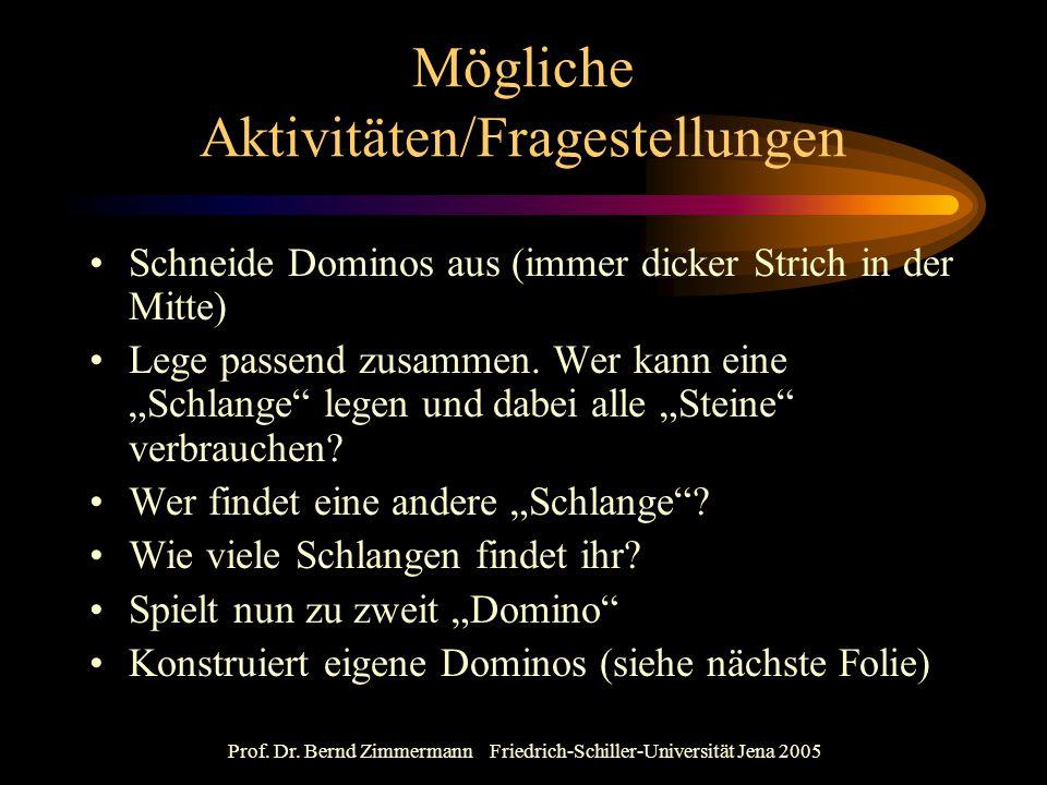 Prof. Dr. Bernd Zimmermann Friedrich-Schiller-Universität Jena 2005 Mögliche Aktivitäten/Fragestellungen Schneide Dominos aus (immer dicker Strich in