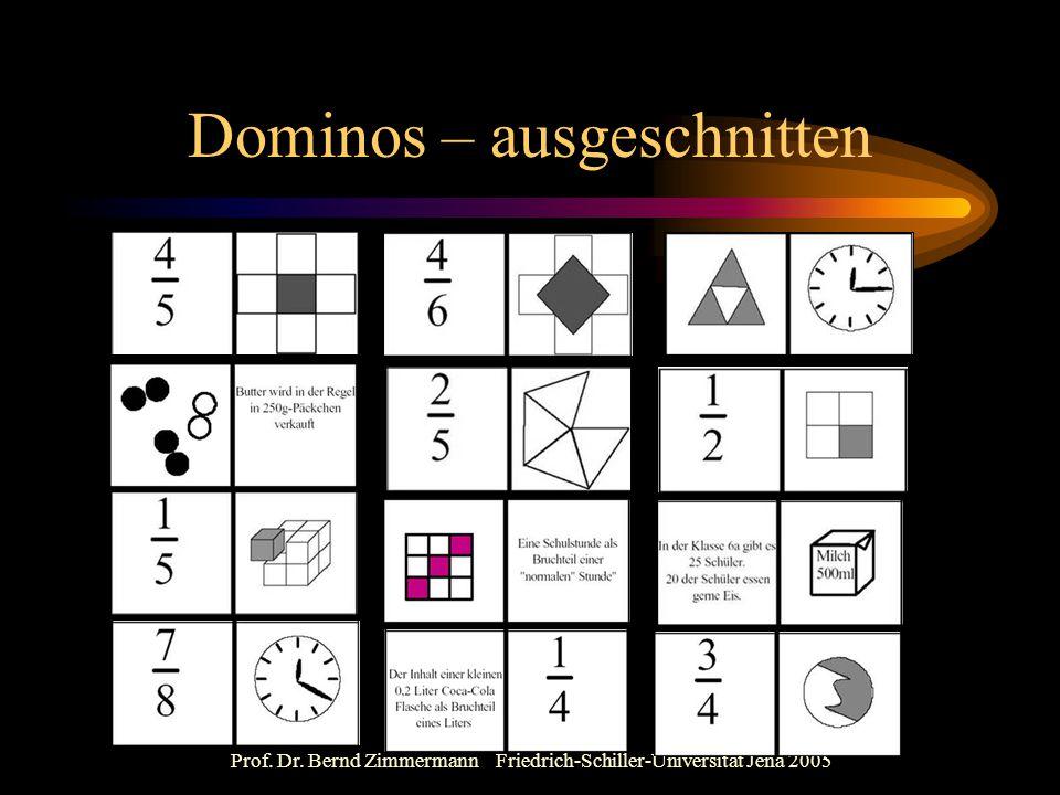 Prof. Dr. Bernd Zimmermann Friedrich-Schiller-Universität Jena 2005 Dominos – ausgeschnitten
