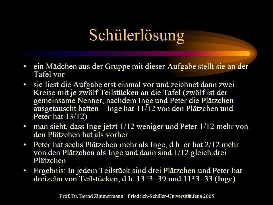 Prof. Dr. Bernd Zimmermann Friedrich-Schiller-Universität Jena 2005 Schülerlösung ein Mädchen aus der Gruppe mit dieser Aufgabe stellt sie an der Tafe