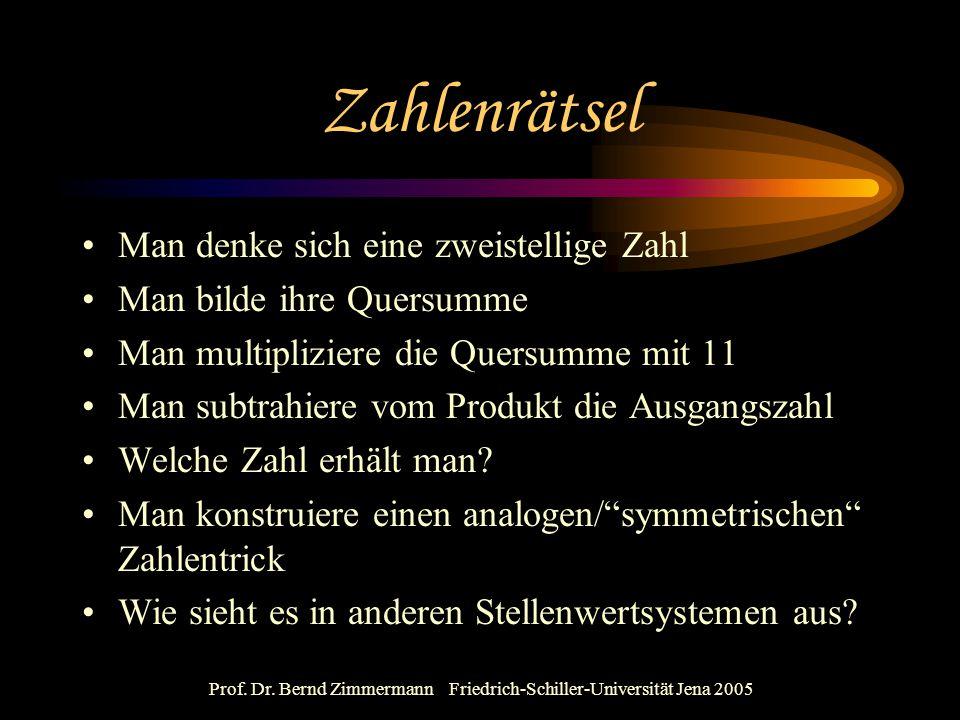 Prof. Dr. Bernd Zimmermann Friedrich-Schiller-Universität Jena 2005 Zahlenrätsel Man denke sich eine zweistellige Zahl Man bilde ihre Quersumme Man mu
