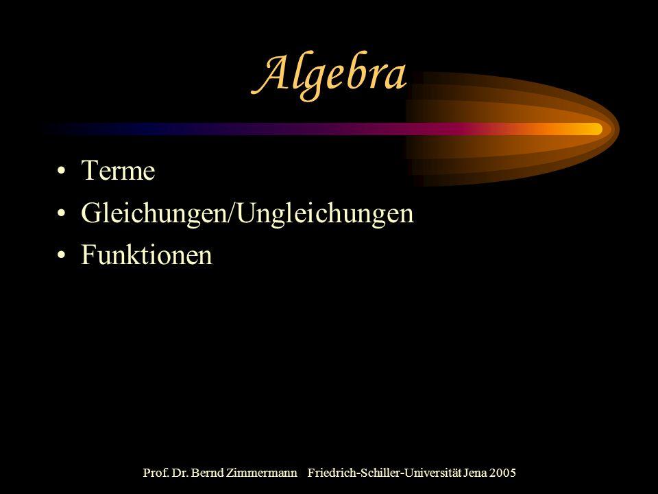 Prof. Dr. Bernd Zimmermann Friedrich-Schiller-Universität Jena 2005 Algebra Terme Gleichungen/Ungleichungen Funktionen