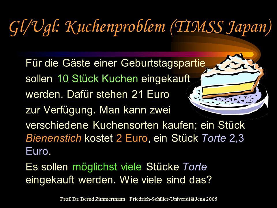 Prof. Dr. Bernd Zimmermann Friedrich-Schiller-Universität Jena 2005 Für die Gäste einer Geburtstagspartie sollen 10 Stück Kuchen eingekauft werden. Da