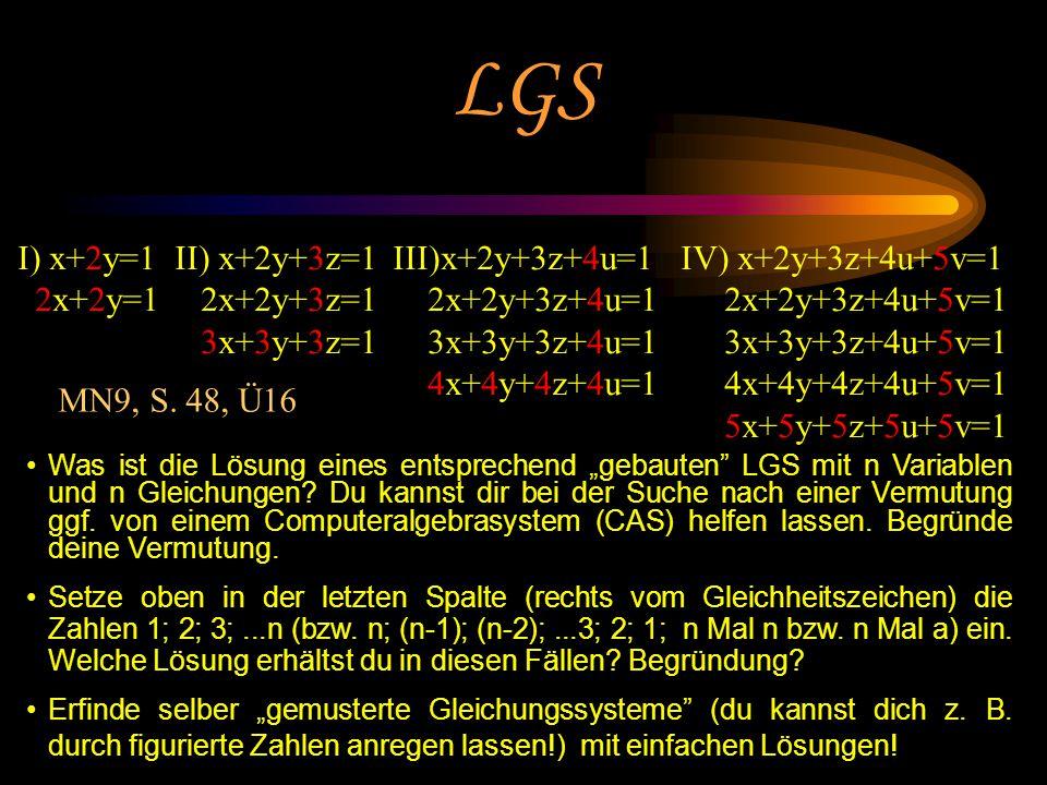 Prof. Dr. Bernd Zimmermann Friedrich-Schiller-Universität Jena 2005 LGS I) x+2y=1 2x+2y=1 II) x+2y+3z=1 2x+2y+3z=1 3x+3y+3z=1 III)x+2y+3z+4u=1 2x+2y+3