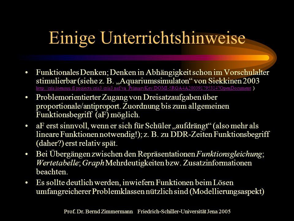 Prof. Dr. Bernd Zimmermann Friedrich-Schiller-Universität Jena 2005 Einige Unterrichtshinweise Funktionales Denken; Denken in Abhängigkeit schon im Vo