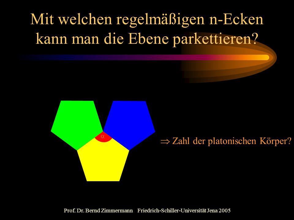 Prof. Dr. Bernd Zimmermann Friedrich-Schiller-Universität Jena 2005 Mit welchen regelmäßigen n-Ecken kann man die Ebene parkettieren?   Zahl der pla