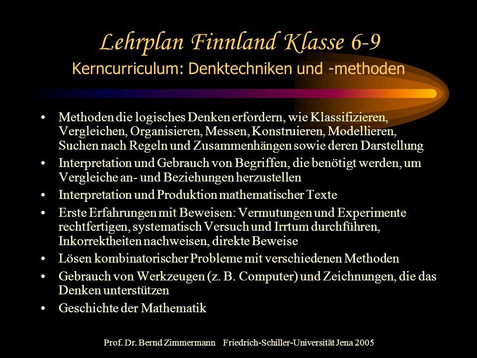 Prof. Dr. Bernd Zimmermann Friedrich-Schiller-Universität Jena 2005 Lehrplan Finnland Klasse 6-9 Kerncurriculum: Denktechniken und -methoden Methoden