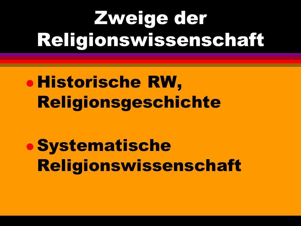 Zweige der Religionswissenschaft l Historische RW, Religionsgeschichte l Systematische Religionswissenschaft