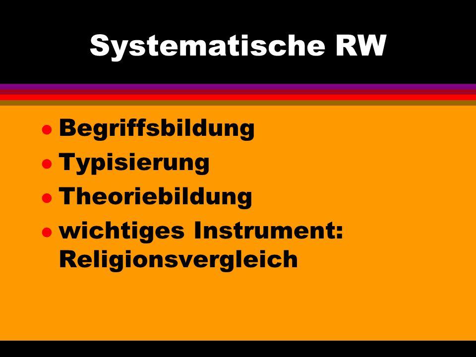 Systematische RW l Begriffsbildung l Typisierung l Theoriebildung l wichtiges Instrument: Religionsvergleich